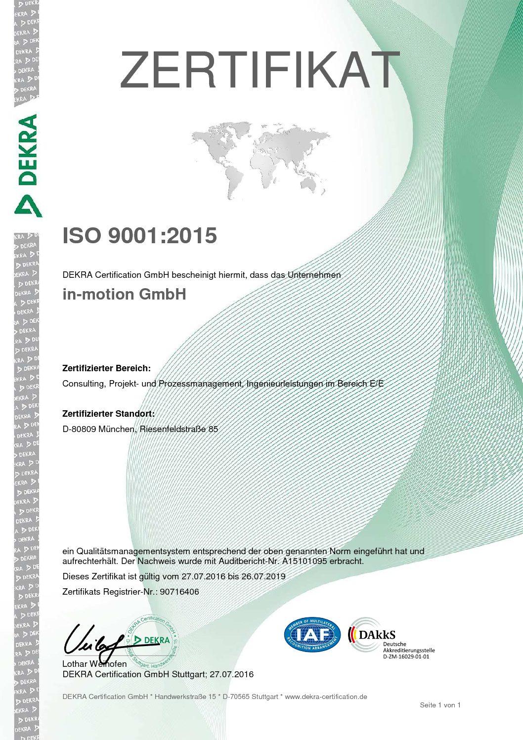 Zertifikat ISO 9901:2015